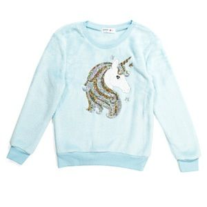 [Beautees] NWT Fuzzy Unicorn Sequin Sweatshirt